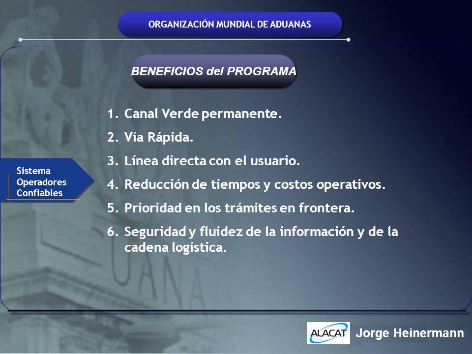 ORGANIZACIÓN MUNDIAL DE ADUANAS 1.Canal Verde permanente. 2.Vía Rápida. 3.Línea directa con el usuario. 4.Reducción de tiempos y costos operativos. 5.