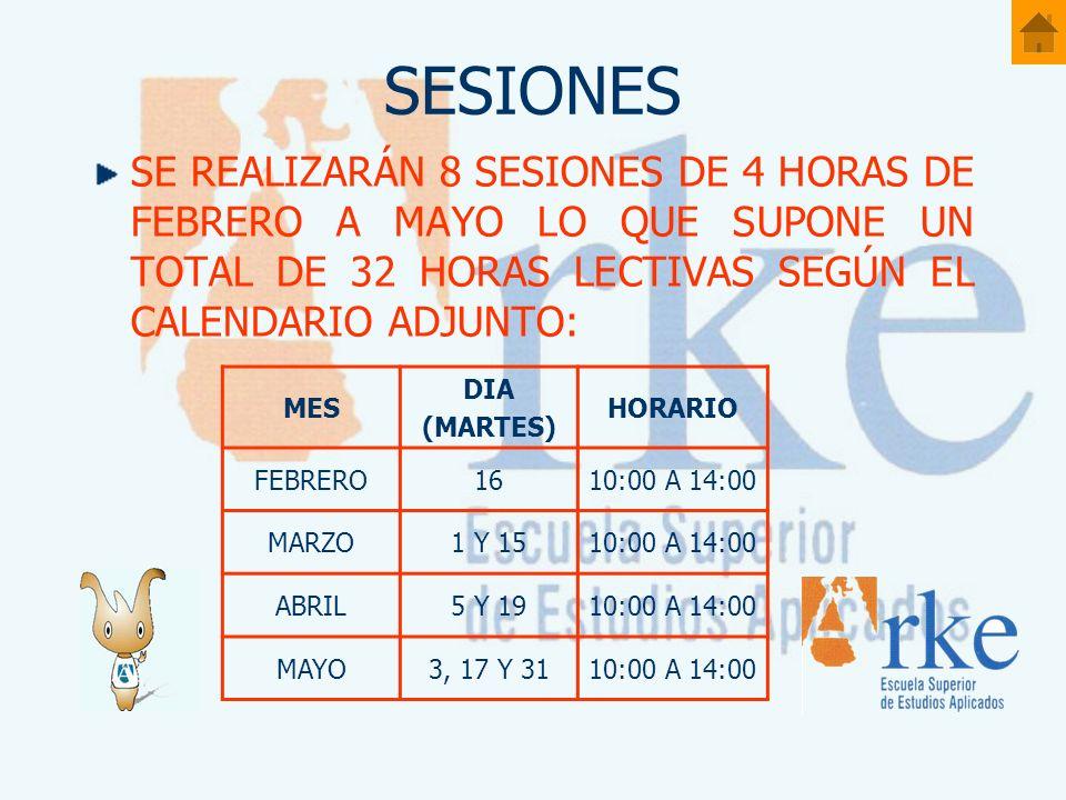 SESIONES SE REALIZARÁN 8 SESIONES DE 4 HORAS DE FEBRERO A MAYO LO QUE SUPONE UN TOTAL DE 32 HORAS LECTIVAS SEGÚN EL CALENDARIO ADJUNTO: MES DIA (MARTES) HORARIO FEBRERO1610:00 A 14:00 MARZO1 Y 1510:00 A 14:00 ABRIL5 Y 1910:00 A 14:00 MAYO3, 17 Y 3110:00 A 14:00