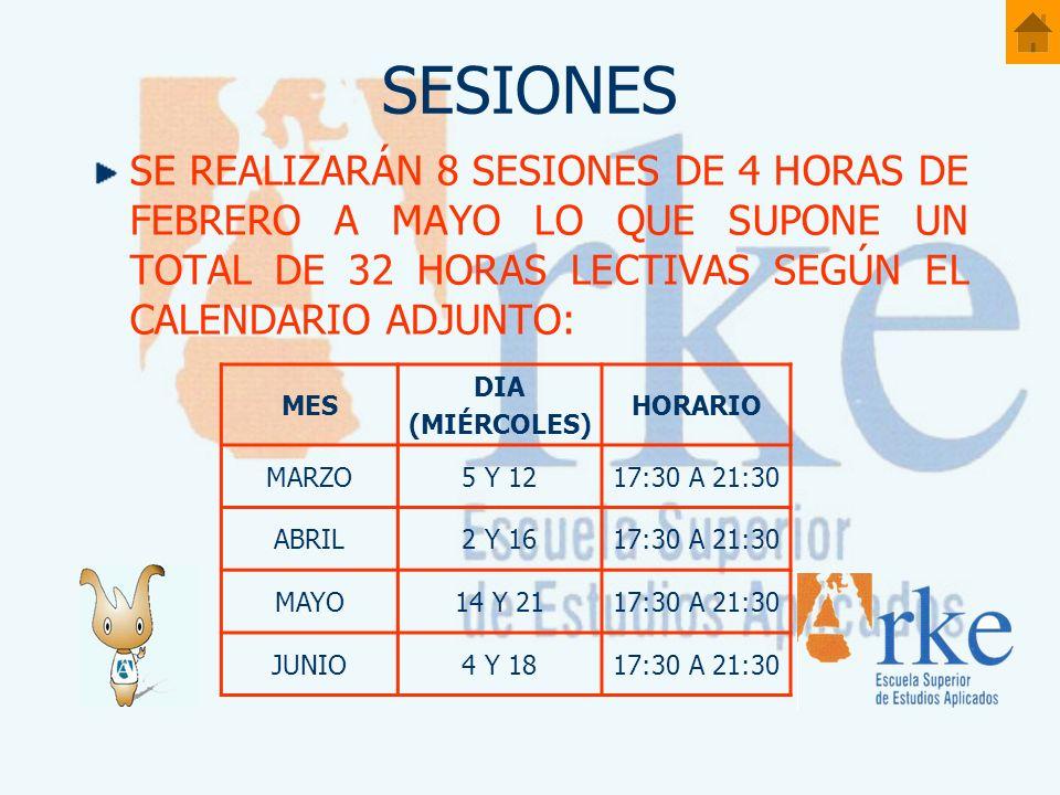 SESIONES SE REALIZARÁN 8 SESIONES DE 4 HORAS DE FEBRERO A MAYO LO QUE SUPONE UN TOTAL DE 32 HORAS LECTIVAS SEGÚN EL CALENDARIO ADJUNTO: MES DIA (MIÉRC
