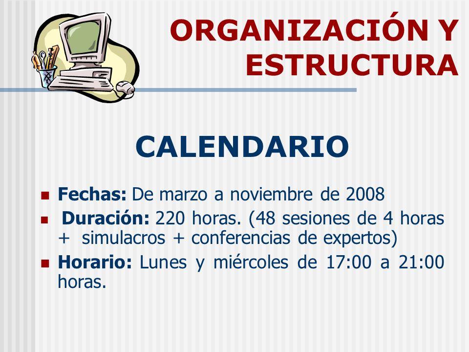 ORGANIZACIÓN Y ESTRUCTURA CALENDARIO Fechas: De marzo a noviembre de 2008 Duración: 220 horas. (48 sesiones de 4 horas + simulacros + conferencias de