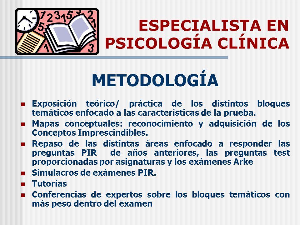 ESPECIALISTA EN PSICOLOGÍA CLÍNICA METODOLOGÍA Exposición teórico/ práctica de los distintos bloques temáticos enfocado a las características de la prueba.