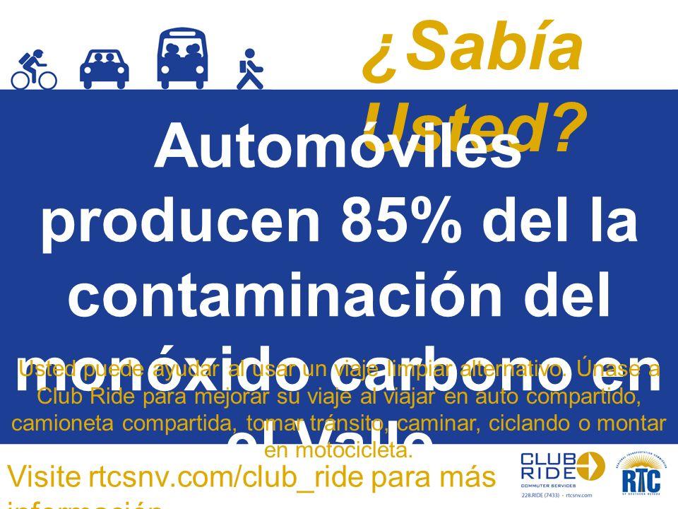 ¿Sabía Usted? Automóviles producen 85% del la contaminación del monóxido carbono en el Valle. Usted puede ayudar al usar un viaje limpiar alternativo.