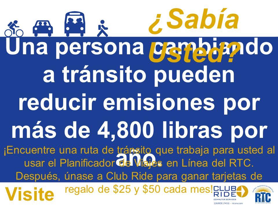 Una persona cambiando a tránsito pueden reducir emisiones por más de 4,800 libras por año. ¡Encuentre una ruta de tránsito que trabaja para usted al u