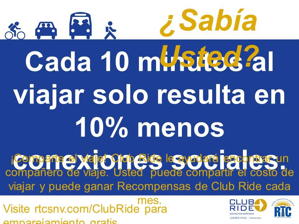 Cada 10 minutos al viajar solo resulta en 10% menos conexiones sociales. ¡Comparte el viaje! Club Ride le ayudará encontrar un compañero de viaje. Ust