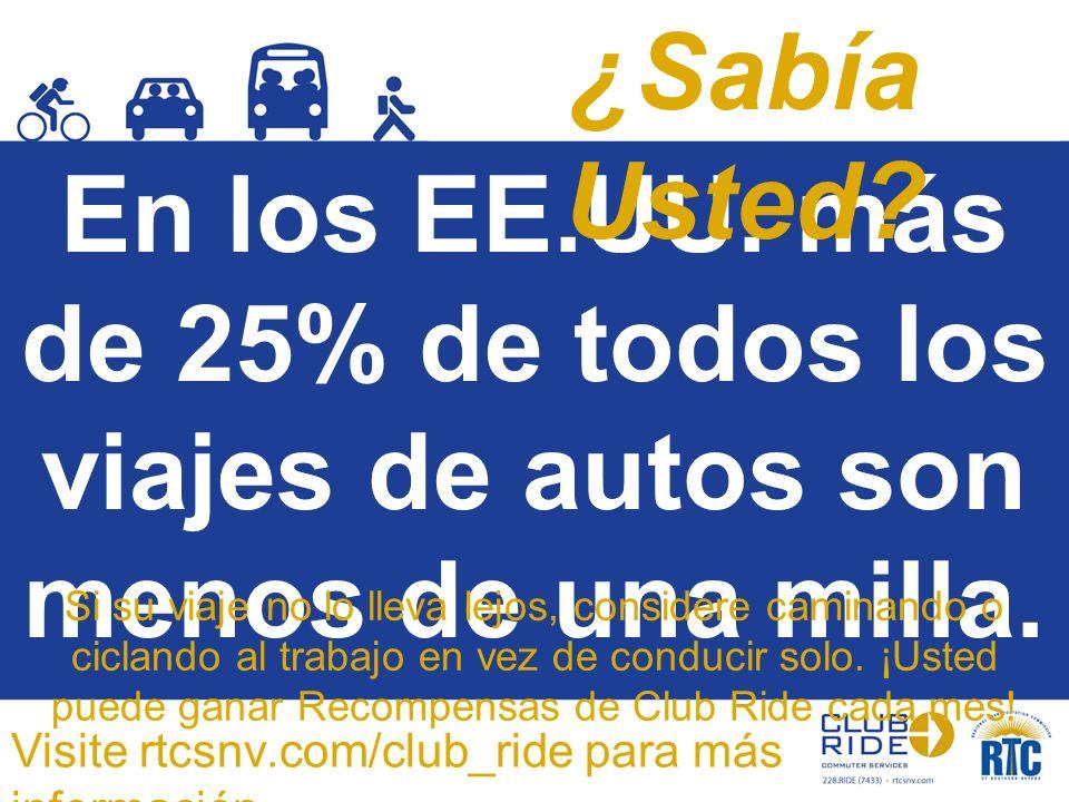 En los EE.UU. más de 25% de todos los viajes de autos son menos de una milla. Si su viaje no lo lleva lejos, considere caminando o ciclando al trabajo