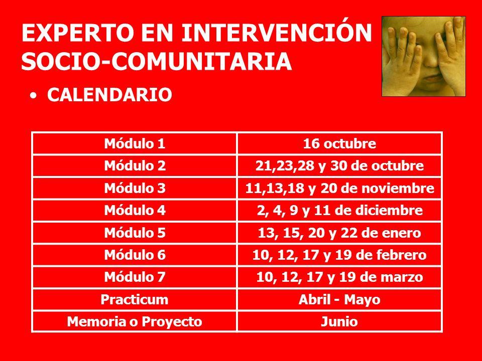 EXPERTO EN INTERVENCIÓN SOCIO-COMUNITARIA CALENDARIO Módulo 116 octubre Módulo 221,23,28 y 30 de octubre Módulo 311,13,18 y 20 de noviembre Módulo 42,