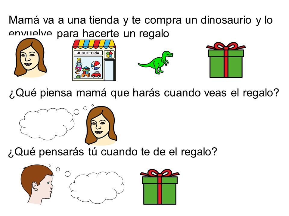 Mamá va a una tienda y te compra un dinosaurio y lo envuelve para hacerte un regalo ¿Qué piensa mamá que harás cuando veas el regalo? ¿Qué pensarás tú