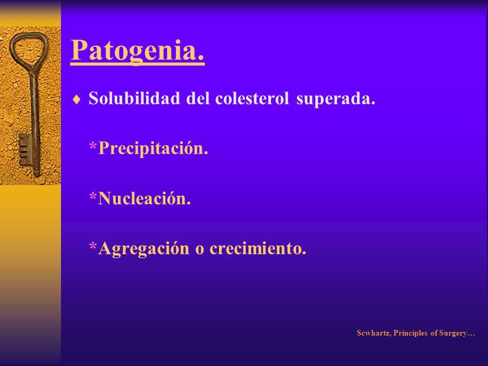 Patogenia. Clasificación. *Colesterol 70%. *Pigmentados (Marrón o negro 15 a 30%). *Mixtos. Scwhartz, Principles of Surgery…