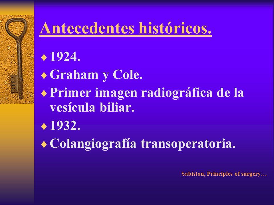 Antecedentes históricos. 1890. Ludwig Courvoisier. Basilea. Primer coledocolitotomía. Sabiston, Principles of surgery…