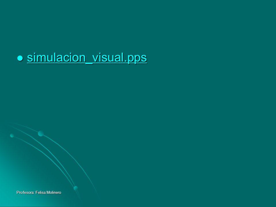 Profesora: Felisa Molinero simulacion_visual.pps simulacion_visual.pps simulacion_visual.pps