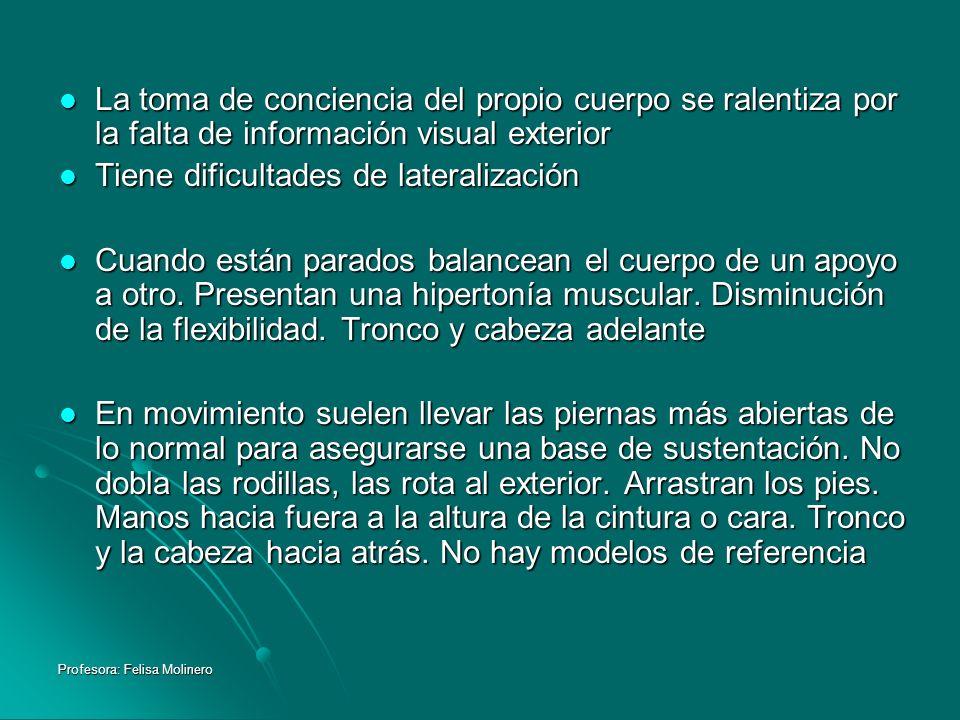 Profesora: Felisa Molinero La toma de conciencia del propio cuerpo se ralentiza por la falta de información visual exterior La toma de conciencia del