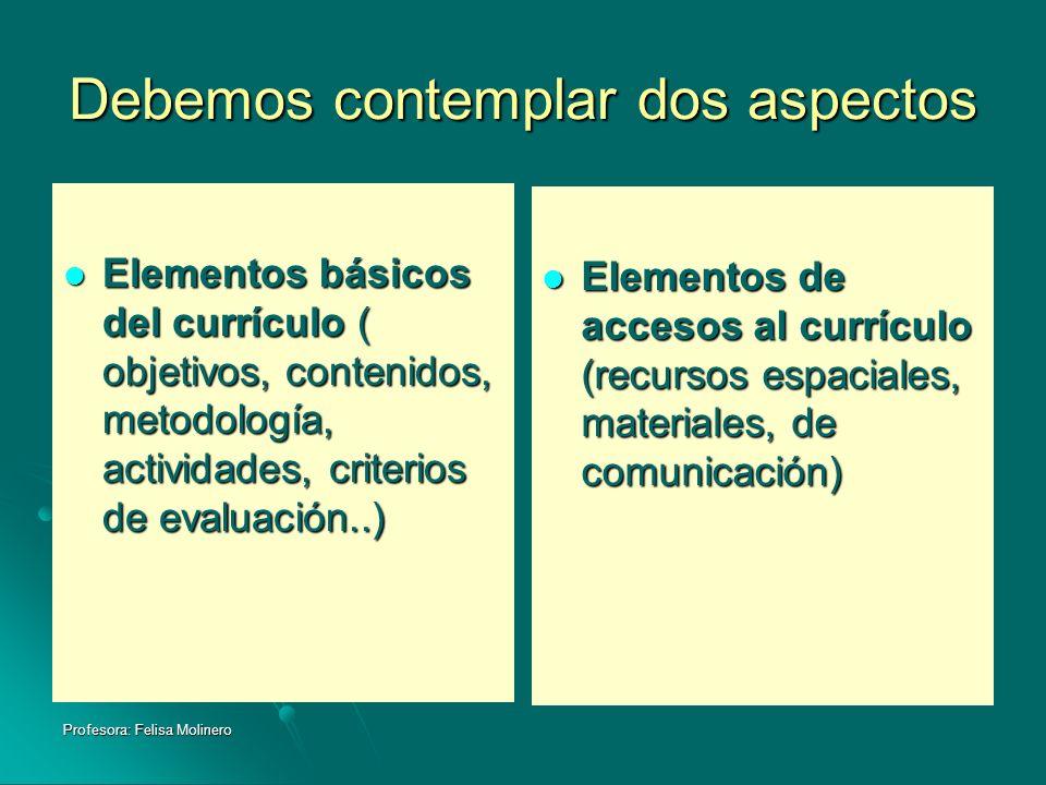 Profesora: Felisa Molinero Debemos contemplar dos aspectos Elementos básicos del currículo ( objetivos, contenidos, metodología, actividades, criterio