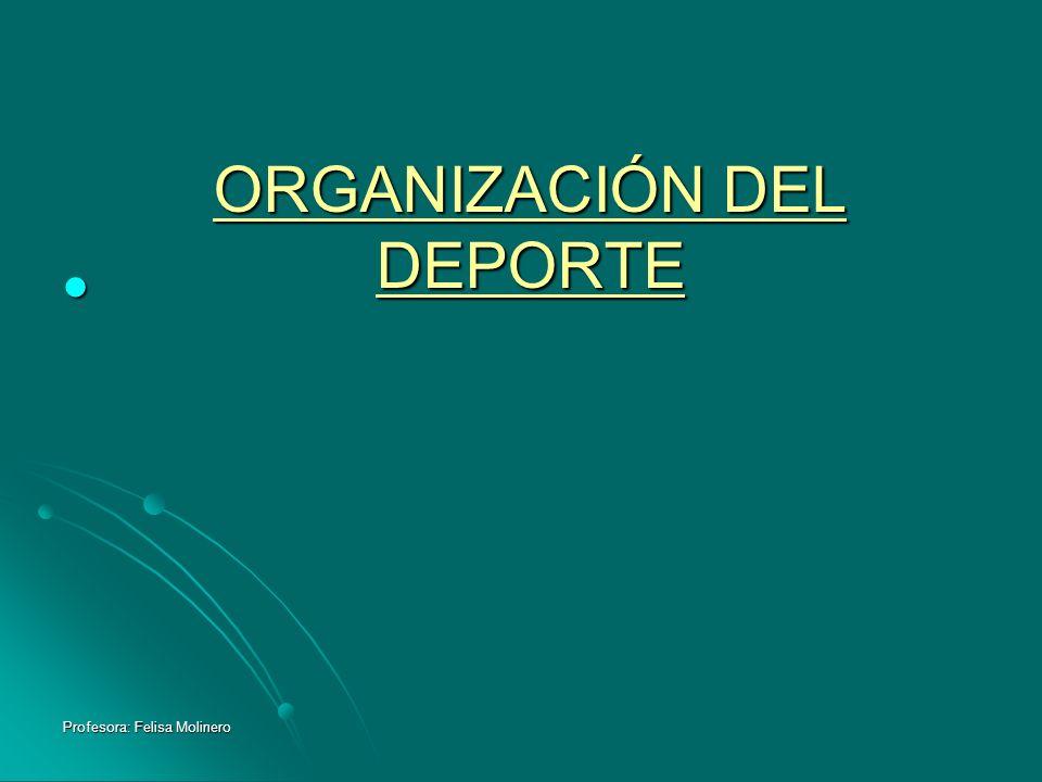 Profesora: Felisa Molinero ORGANIZACIÓN DEL DEPORTE