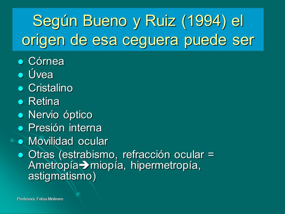 Profesora: Felisa Molinero Según Bueno y Ruiz (1994) el origen de esa ceguera puede ser Córnea Córnea Úvea Úvea Cristalino Cristalino Retina Retina Ne