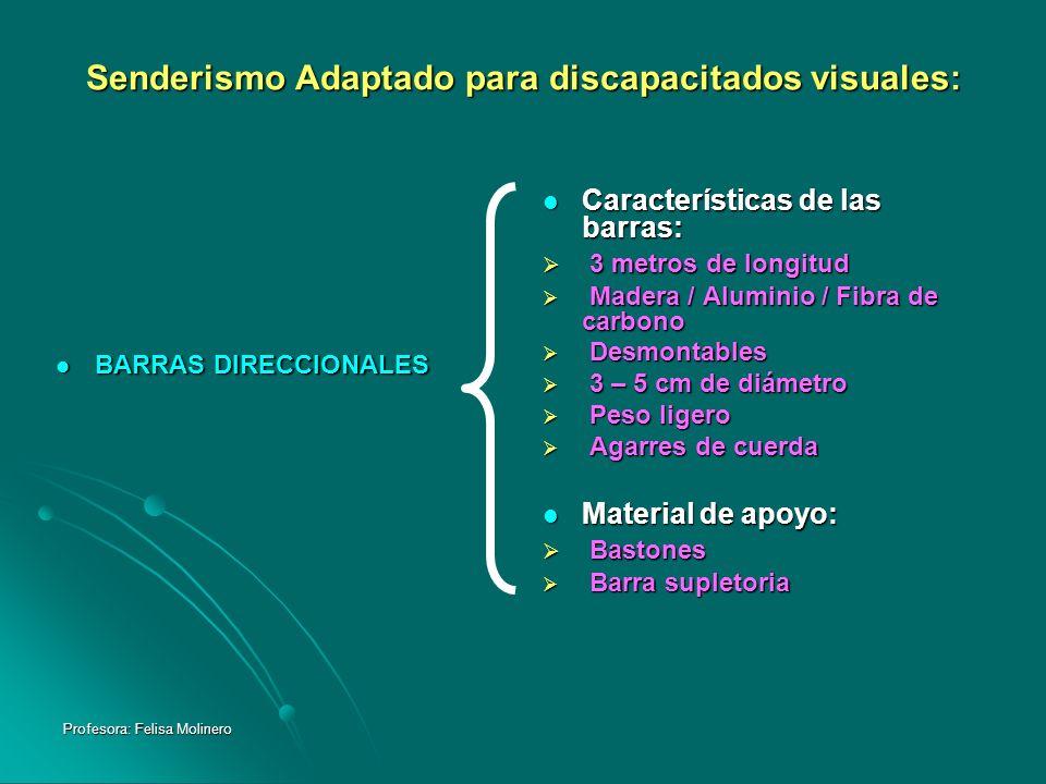Profesora: Felisa Molinero Senderismo Adaptado para discapacitados visuales: BARRAS DIRECCIONALES BARRAS DIRECCIONALES Características de las barras: