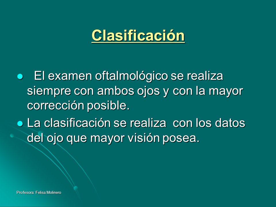 Profesora: Felisa Molinero Clasificación El examen oftalmológico se realiza siempre con ambos ojos y con la mayor corrección posible. El examen oftalm