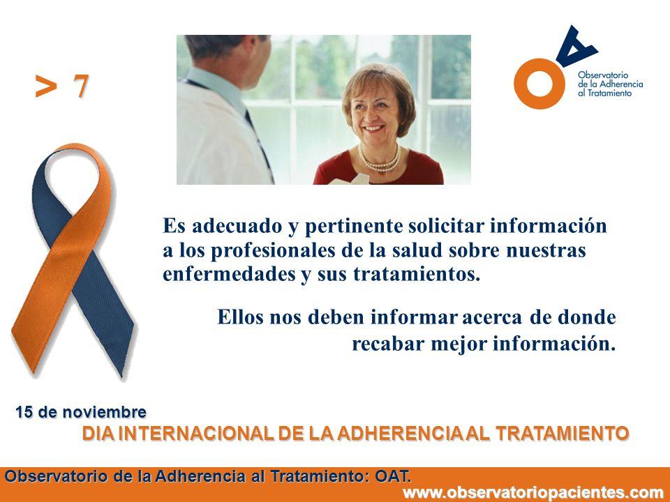 > Es adecuado y pertinente solicitar información a los profesionales de la salud sobre nuestras enfermedades y sus tratamientos. Ellos nos deben infor