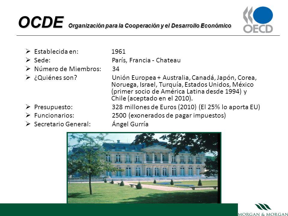 OCDE Organización para la Cooperación y el Desarrollo Económico Establecida en: 1961 Sede: París, Francia - Chateau Número de Miembros: 34 ¿Quiénes so