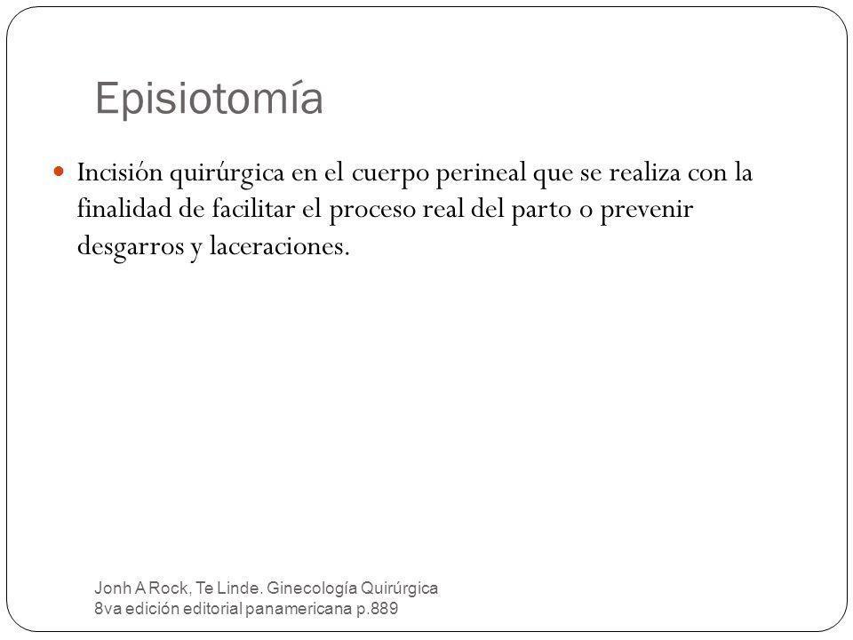 Episiotomía Jonh A Rock, Te Linde. Ginecología Quirúrgica 8va edición editorial panamericana p.889 Incisión quirúrgica en el cuerpo perineal que se re