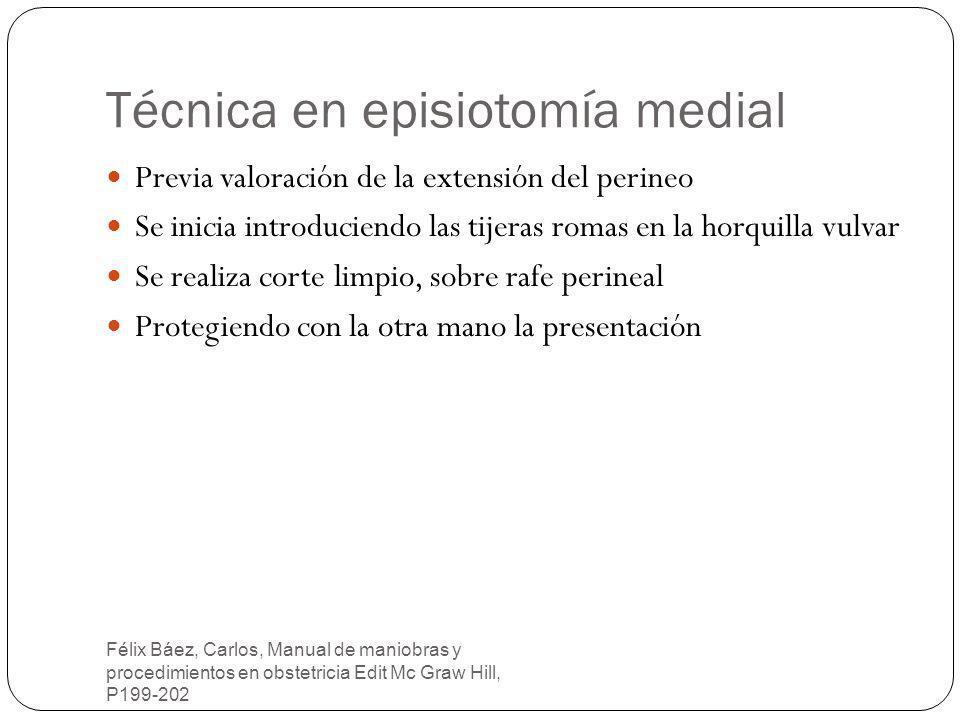 Técnica en episiotomía medial Félix Báez, Carlos, Manual de maniobras y procedimientos en obstetricia Edit Mc Graw Hill, P199-202 Previa valoración de