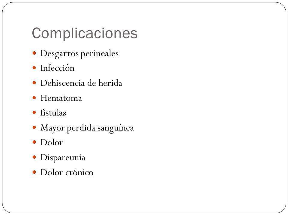 Complicaciones Desgarros perineales Infección Dehiscencia de herida Hematoma fistulas Mayor perdida sanguínea Dolor Dispareunía Dolor crónico