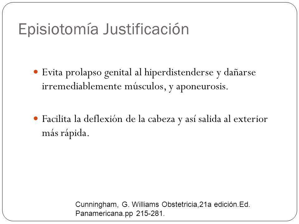 Episiotomía Justificación Evita prolapso genital al hiperdistenderse y dañarse irremediablemente músculos, y aponeurosis. Facilita la deflexión de la