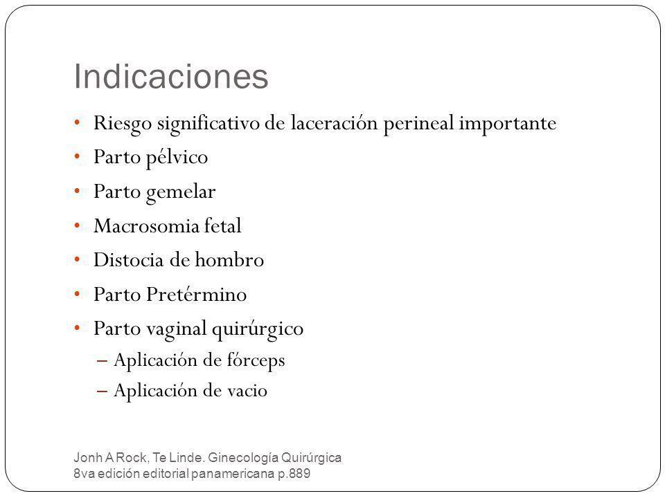 Indicaciones Primigestas o nulíparas.Episiotomías previas.