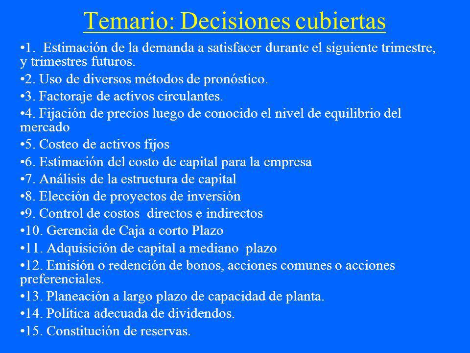 Temario: Decisiones cubiertas 1. Estimación de la demanda a satisfacer durante el siguiente trimestre, y trimestres futuros. 2. Uso de diversos método