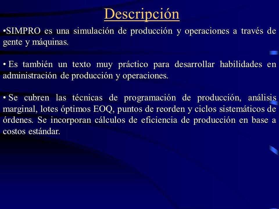 Descripción SIMPRO es una simulación de producción y operaciones a través de gente y máquinas.SIMPRO es una simulación de producción y operaciones a t