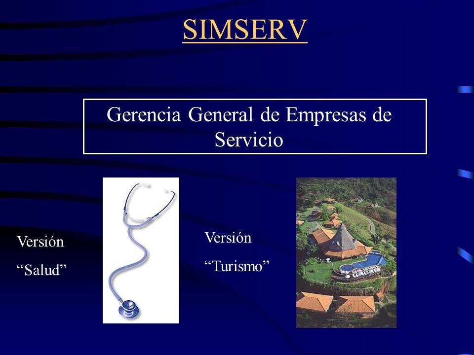 SIMSERV Gerencia General de Empresas de Servicio Versión Salud Versión Turismo