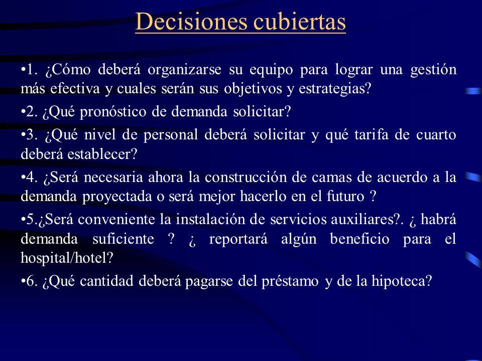 Decisiones cubiertas 1. ¿Cómo deberá organizarse su equipo para lograr una gestión más efectiva y cuales serán sus objetivos y estrategias? 2. ¿Qué pr