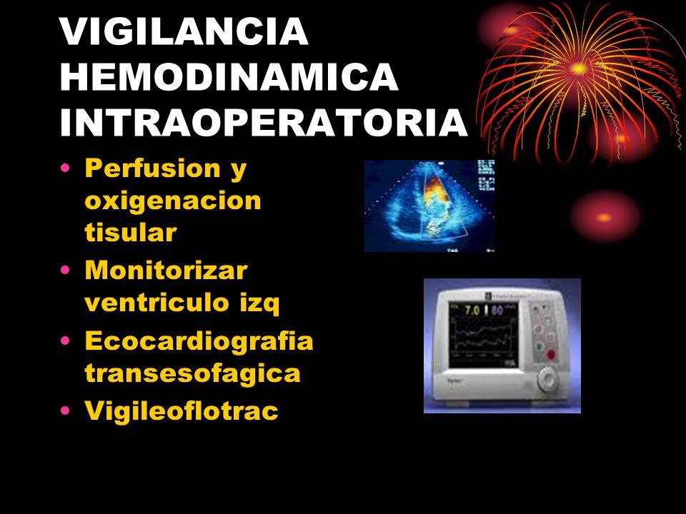VIGILANCIA HEMODINAMICA INTRAOPERATORIA Perfusion y oxigenacion tisular Monitorizar ventriculo izq Ecocardiografia transesofagica Vigileoflotrac
