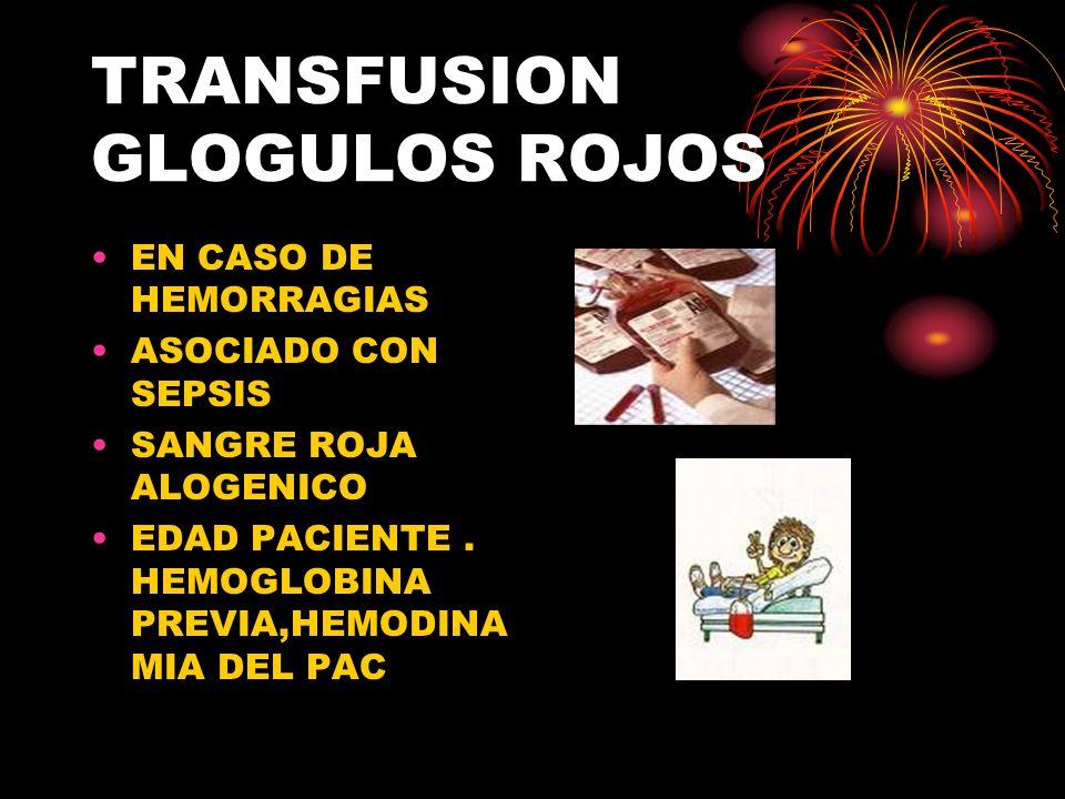 TRANSFUSION GLOGULOS ROJOS EN CASO DE HEMORRAGIAS ASOCIADO CON SEPSIS SANGRE ROJA ALOGENICO EDAD PACIENTE.