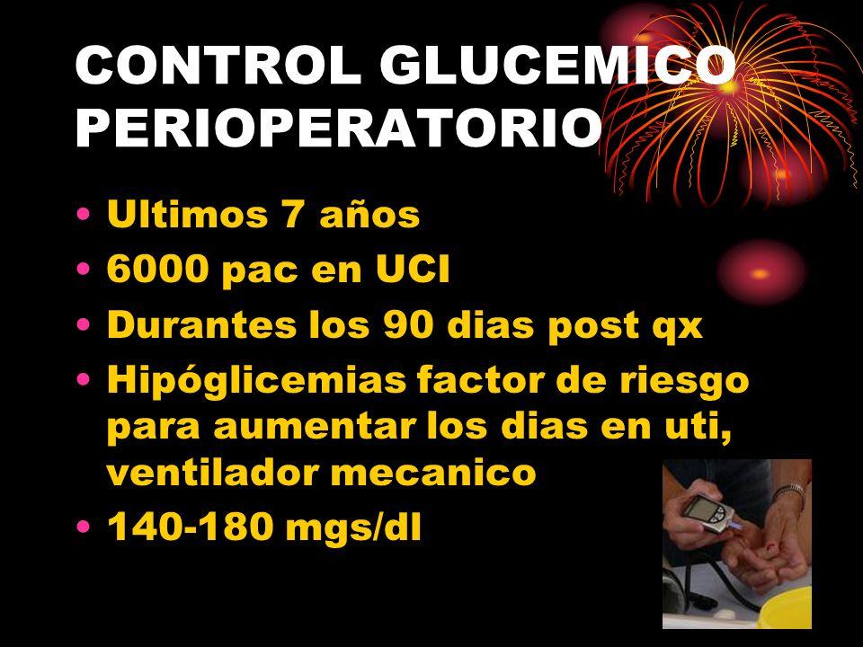 CONTROL GLUCEMICO PERIOPERATORIO Ultimos 7 años 6000 pac en UCI Durantes los 90 dias post qx Hipóglicemias factor de riesgo para aumentar los dias en uti, ventilador mecanico 140-180 mgs/dl