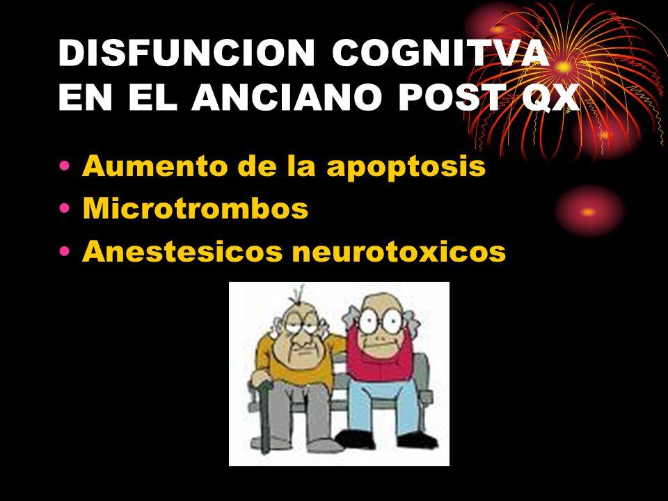 DISFUNCION COGNITVA EN EL ANCIANO POST QX Aumento de la apoptosis Microtrombos Anestesicos neurotoxicos