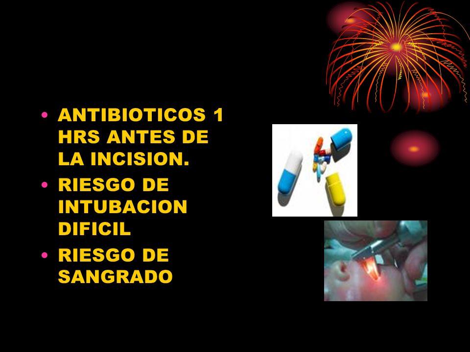 ANTIBIOTICOS 1 HRS ANTES DE LA INCISION. RIESGO DE INTUBACION DIFICIL RIESGO DE SANGRADO
