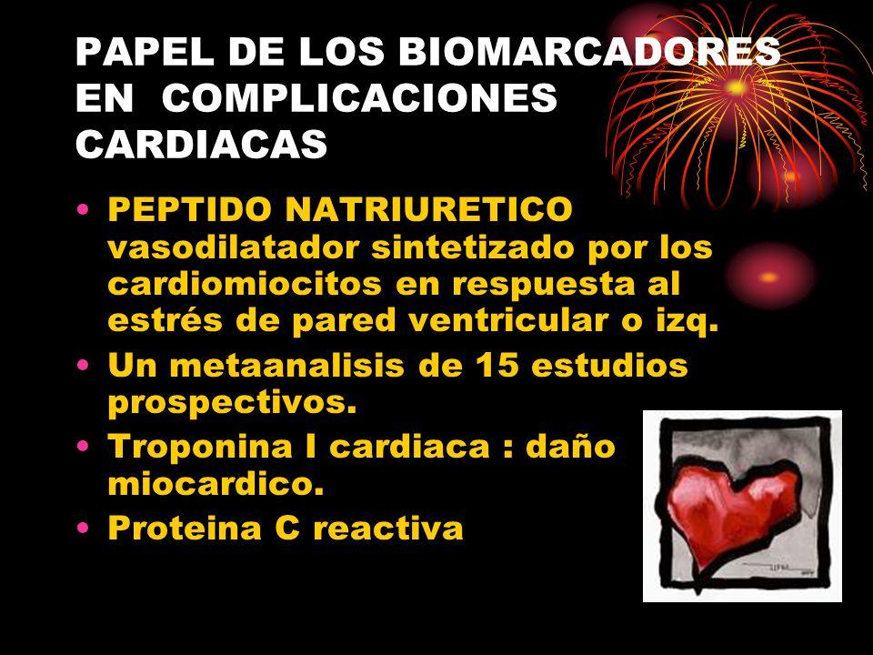 PAPEL DE LOS BIOMARCADORES EN COMPLICACIONES CARDIACAS PEPTIDO NATRIURETICO vasodilatador sintetizado por los cardiomiocitos en respuesta al estrés de pared ventricular o izq.