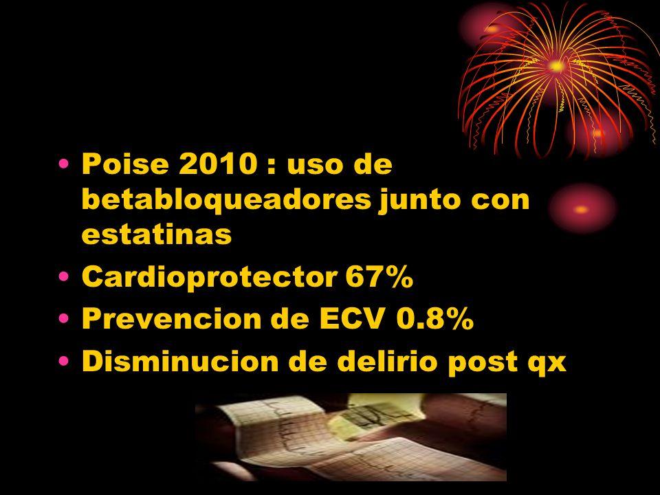 Poise 2010 : uso de betabloqueadores junto con estatinas Cardioprotector 67% Prevencion de ECV 0.8% Disminucion de delirio post qx