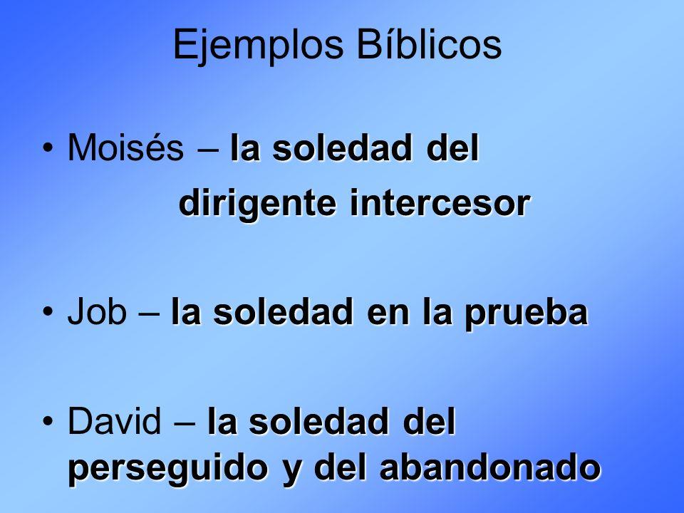 Ejemplos Bíblicos Elías y Jeremías – la soledad del profeta impopular la soledad delJesús – la soledad del Cordero de Dios Cordero de Dios
