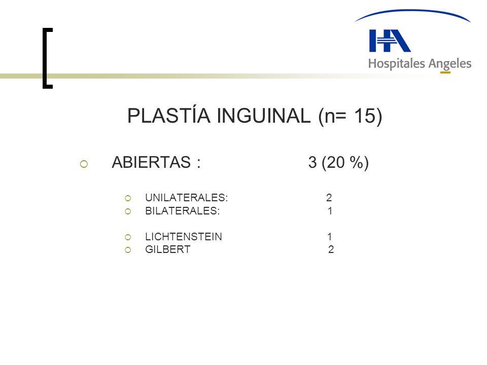 PLASTÍA INGUINAL (n= 15) ABIERTAS : 3 (20 %) UNILATERALES: 2 BILATERALES: 1 LICHTENSTEIN 1 GILBERT 2