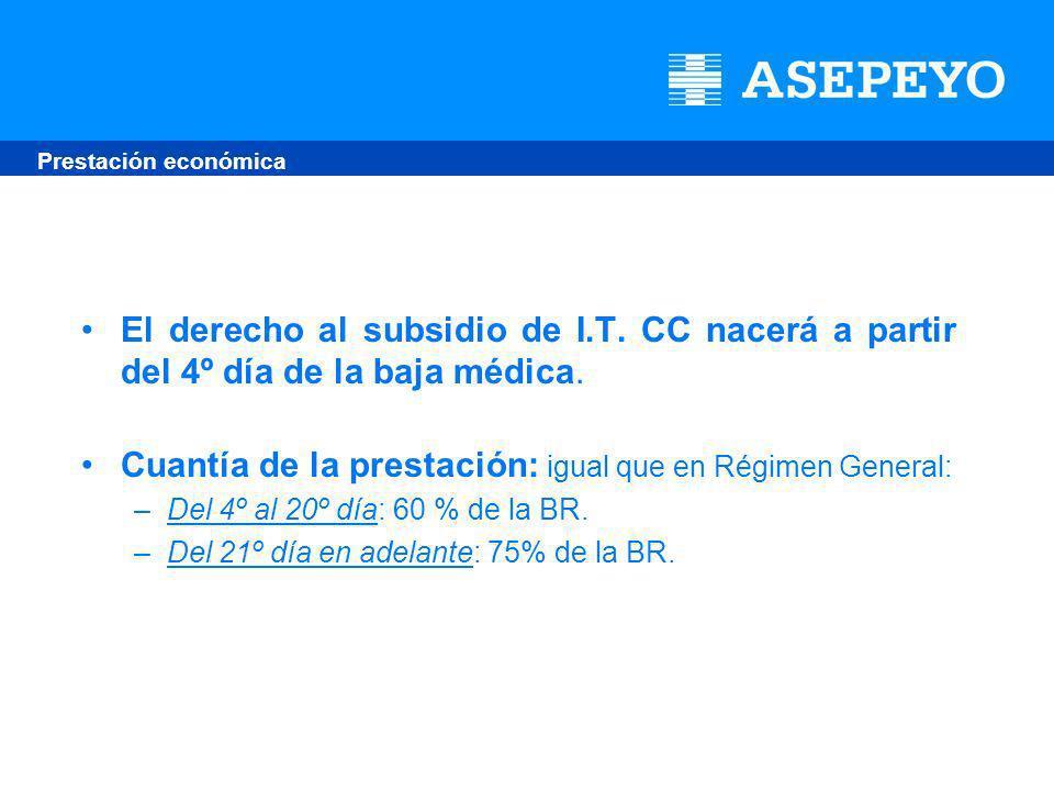 El derecho al subsidio de I.T. CC nacerá a partir del 4º día de la baja médica.