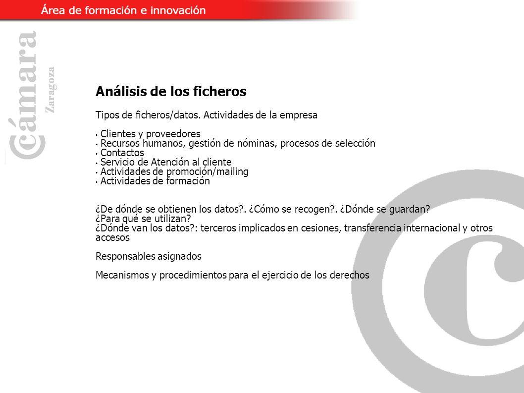 Análisis de los ficheros Tipos de ficheros/datos.