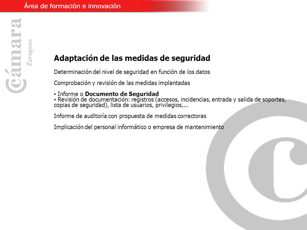 Adaptación de las medidas de seguridad Determinación del nivel de seguridad en función de los datos Comprobación y revisión de las medidas implantadas Informe o Documento de Seguridad Revisión de documentación: registros (accesos, incidencias, entrada y salida de soportes, copias de seguridad), lista de usuarios, privilegios,...