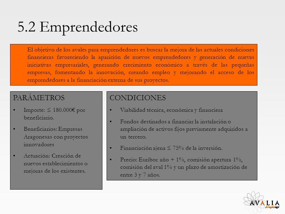 5.2 Emprendedores El objetivo de los avales para emprendedores es buscar la mejora de las actuales condiciones financieras favoreciendo la aparición d