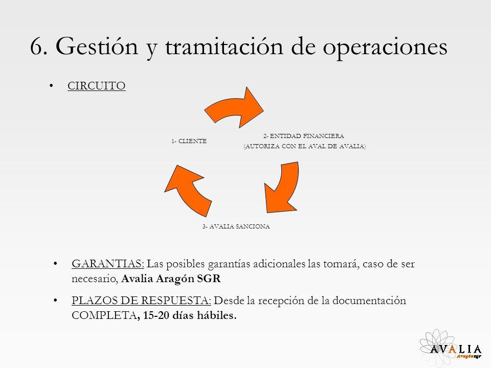 6. Gestión y tramitación de operaciones CIRCUITO GARANTIAS: Las posibles garantías adicionales las tomará, caso de ser necesario, Avalia Aragón SGR PL