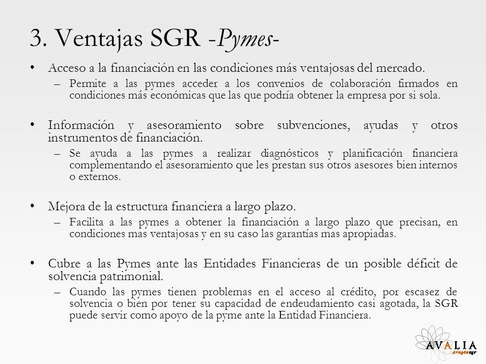 3. Ventajas SGR -Pymes- Acceso a la financiación en las condiciones más ventajosas del mercado. –Permite a las pymes acceder a los convenios de colabo