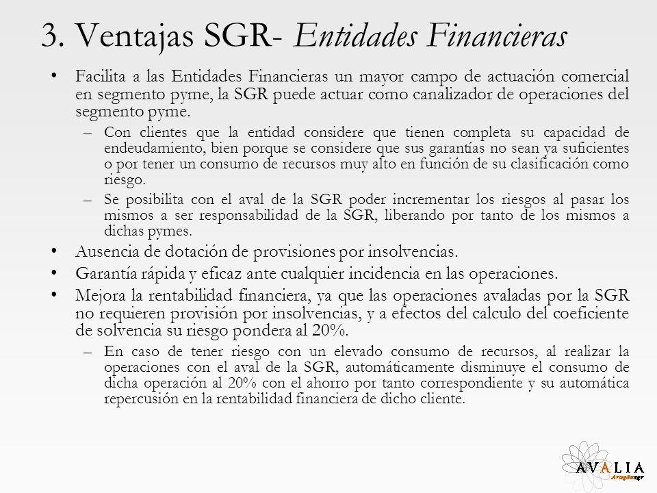 3. Ventajas SGR- Entidades Financieras Facilita a las Entidades Financieras un mayor campo de actuación comercial en segmento pyme, la SGR puede actua