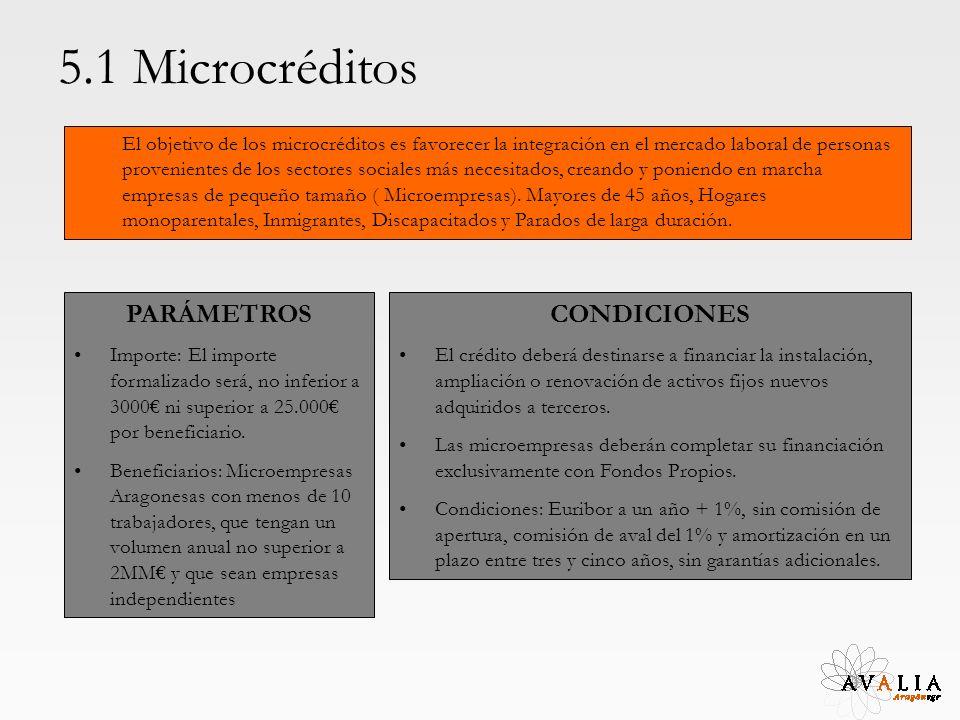 5.1 Microcréditos El objetivo de los microcréditos es favorecer la integración en el mercado laboral de personas provenientes de los sectores sociales más necesitados, creando y poniendo en marcha empresas de pequeño tamaño ( Microempresas).
