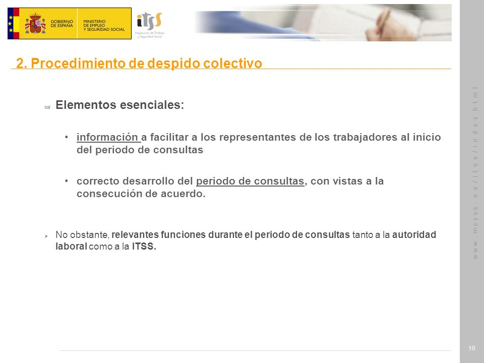w w w. m e y s s. e s / i t s s / i n d e x.h t m l 10 – Elementos esenciales: información a facilitar a los representantes de los trabajadores al ini