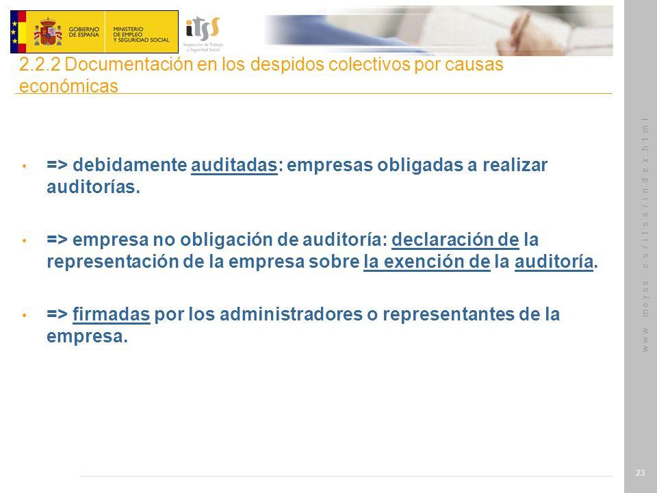 w w w. m e y s s. e s / i t s s / i n d e x.h t m l 23 => debidamente auditadas: empresas obligadas a realizar auditorías. => empresa no obligación de
